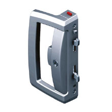 ONYX 'D' HANDLE SLIDING DOOR LOCK, KEY OPERATED WITH SAFETY INDICATOR.