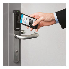 ASSA ABLOY ELECTRONIC DOOR LOCK, SECURELY OPERATED WITH A SMART PHONE.